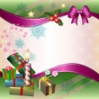 Merry Christmas background with candle, gifts and bow — Imagens vectoriais em stock