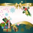 Merry Christmas background with candle, gifts and bow — Stock Vector