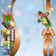 Merry Christmas background with candle, bell and gifts — Stock Vector