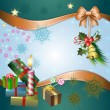 Merry Christmas background with candle and gifts — Imagens vectoriais em stock