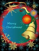 Веселый новогодний фон с шариками и Белл — Cтоковый вектор