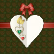 Cтоковый вектор: Diamond hearts with gold ornaments, bow and photographic paper