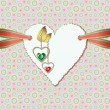 Diamond hearts with gold ornaments and photographic paper — стоковый вектор #18647705