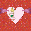 Diamond hearts with gold ornaments and photographic paper heart — ストックベクター #18647731