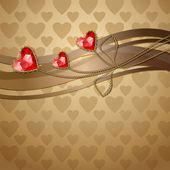 3 つの赤いダイヤモンドの心と金の装飾品 — ストックベクタ