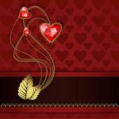 Drie rode ruit harten en goud — Stockvector