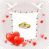 Carte d'invitation de mariage avec anneaux — Vecteur