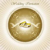 Vacker vintage bröllop inbjudningskort — Stockvektor