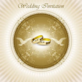 Mooie vintage bruiloft uitnodigingskaart — Stockvector