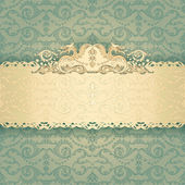 Elegant frame banner with ornate wallpaper background — Stock Vector