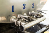 Steel pipelines and valves — Stock Photo