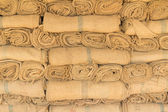 Hemp sacks in a row — Stock Photo