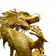 Colorful Golden dragon statue on white background — Stock Photo #4350099