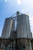 Two metal silo agricultural granary — Stock Photo