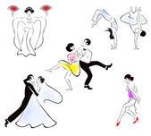 Illustration of five dance styles — Stock Vector