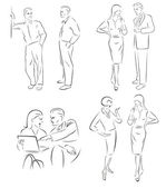 Illustration conversing characters. — Stock Vector