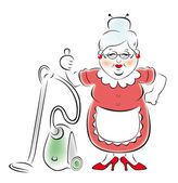 Smiling grandmother with a vacuum cleaner. — Stock Vector