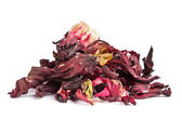 Dried hibiscus leaves on a white background — Stock Photo