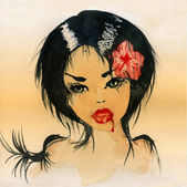 Watercolor drawing of a woman - a vampire. — Stock Photo