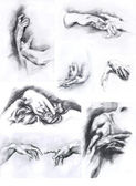 A set of pencil drawings of hands — Stock Photo