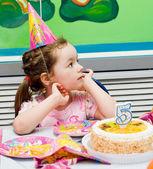 The birthday girl. festive table — Stock Photo