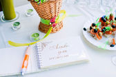Notebook wishes for wedding party — Stock Photo