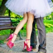 Legs of the groom and the bride. — Stock Photo #24316571