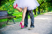 Legs of the groom and the bride. — ストック写真