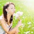 Girl on field with dandelion — Stock Photo