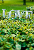 Word love on the lawn — Stockfoto