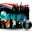 Banner with dancing silhouettes — Stock Vector