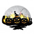 Halloween pumpkins — Vector de stock #12752834