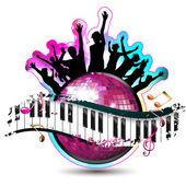 Teclas del piano con el baile siluetas — Vector de stock
