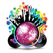 Dancing silhouettes with disco ball — Stock Vector