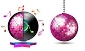 Vinyl record with disco ball — Stock Vector