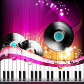 Piano keys with vinyl record — Stock Vector