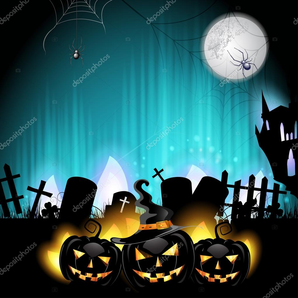 Halloween pumpkins in the cemetery   — Stock Vector #12752825
