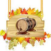 ワインの木のバレル — ストックベクタ
