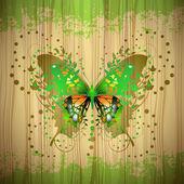 Motýl nad dřevo — Stock vektor