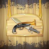 Pirate sword and gun — Stock Vector