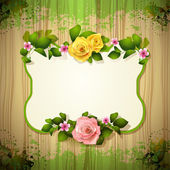 Mirror with roses — Stock Vector