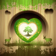 Green heart with tree — Stock Vector