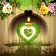 Stock Vector: Green heart with candle