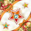 Christmas star with snowman - Stock Vector
