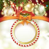 Fondo de navidad con bolas — Vector de stock
