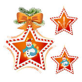 Christmas star with snowman — Stock Vector