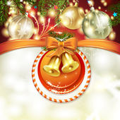 рождественская открытка с колокольчиками — Cтоковый вектор