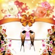 Two swallows with flowers — Vector de stock