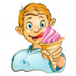 Cartoon little boy with ice cream — Stock Vector