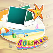 Summer beach with photos — Stock Vector